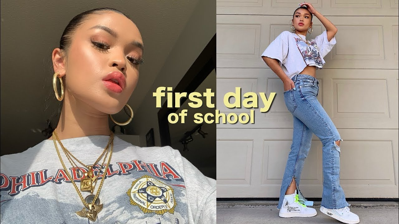 First Day Of School Grwm Makeup Hair Outfit