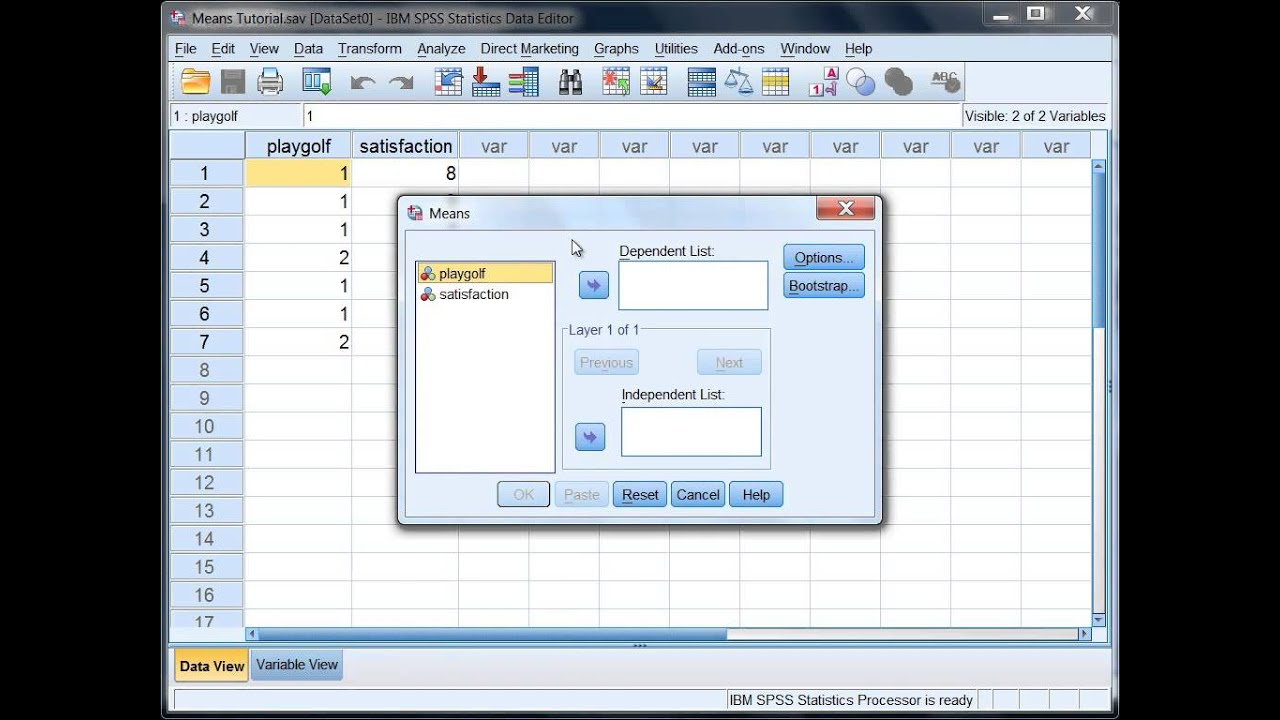 Find The Mean And Standard Deviation In Spss For Two Groups