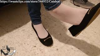 Do you desire her white nylon feet and shoeplay in black flats?