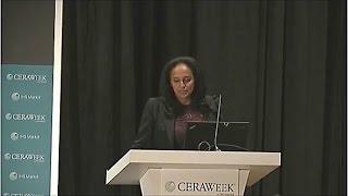 Isabel dos Santos, Chairwoman of Sonangol, speaking at CERAWeek 2017