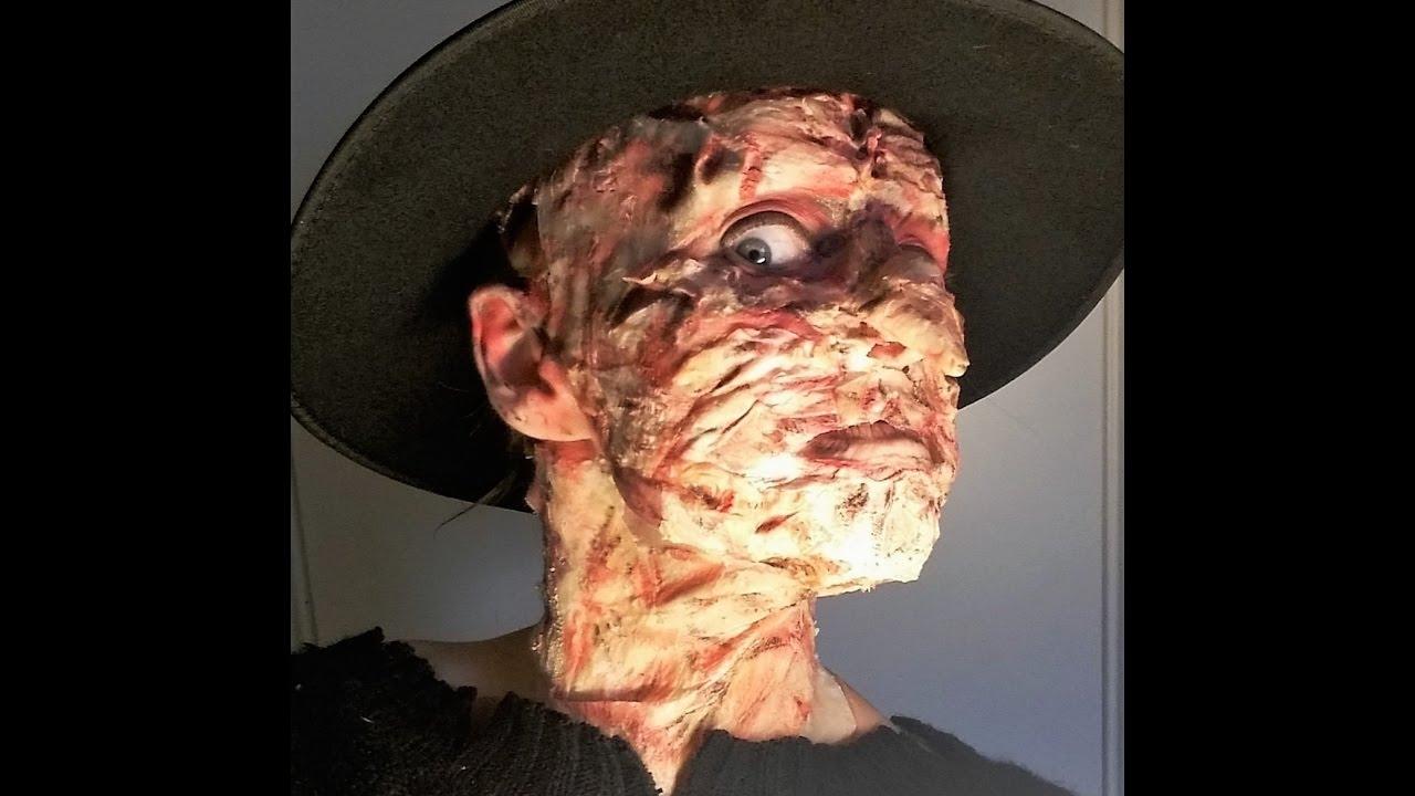 Freddy Krueger Halloween Make-Up and Fake Burned Skin Tutorial ...