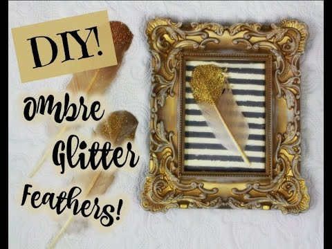 DIY Ombre Glitter Feathers