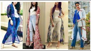 Shrug with jeans !! Long shrug  dresses designs !! Long shrug with jeans for Outfits ideas for girls