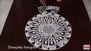 simple & easy big round freehand muggulu * beautifull round kolam design * latest rangoli design