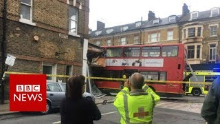 Footage from bus crash in Wandsworth   BBC News