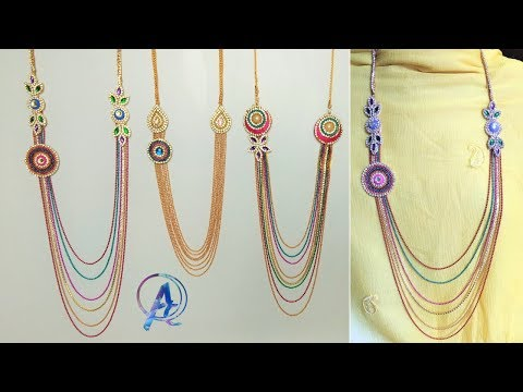 how to make step chain necklace || how to make necklace at home || silk thread step chain making
