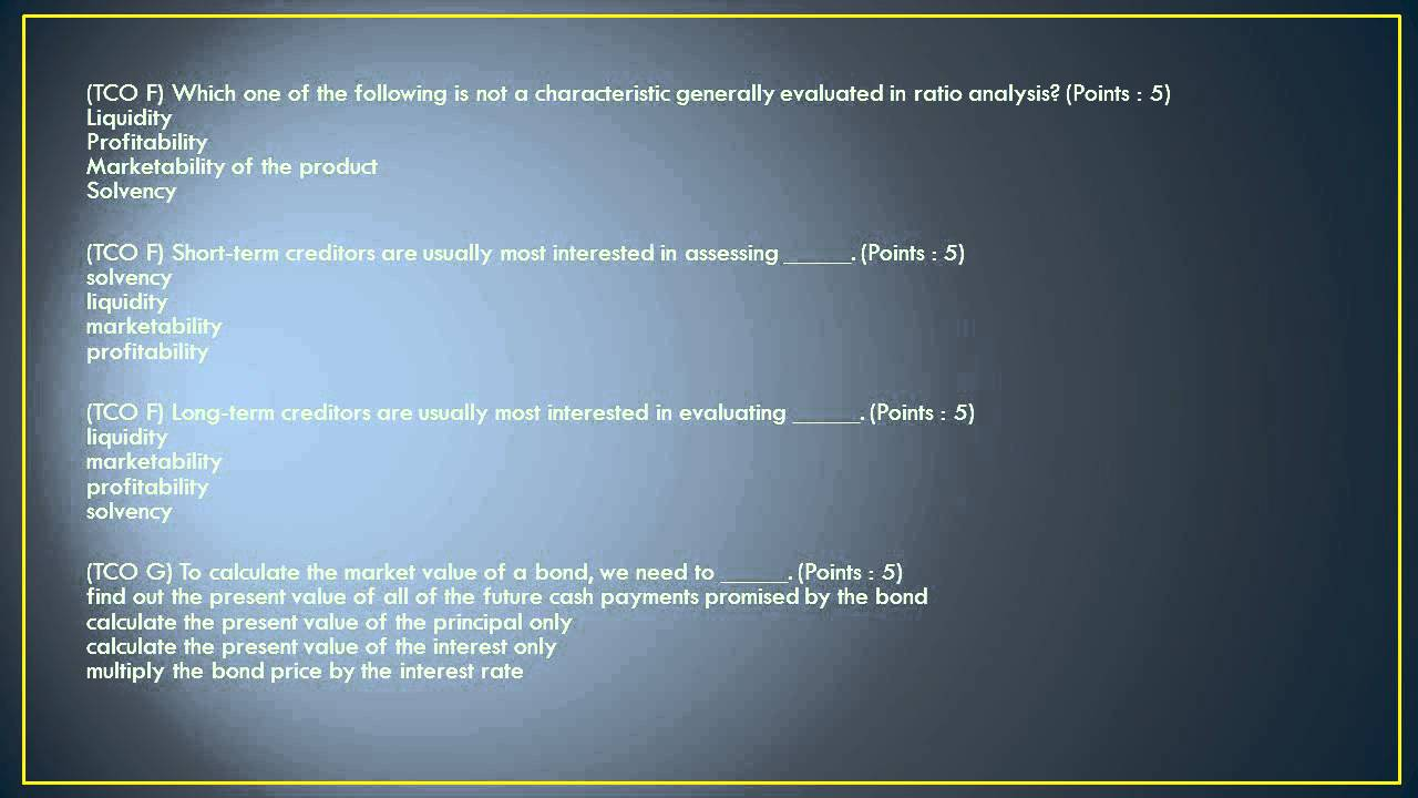 ACCT 567 Final Exam Solutions 100% Correct Answers (TCO A)