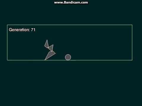 Genetic algorithm. Learning to jump over ball.