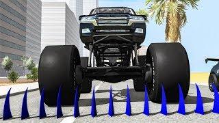 Big Spikes vs Car Tires #2 - Beamng drive