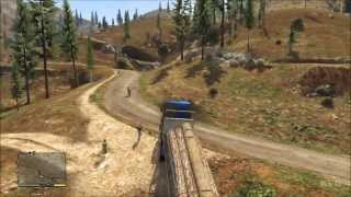 Grand Theft Auto 5 - Truck - Wood Logs Trailer Gameplay [HD]