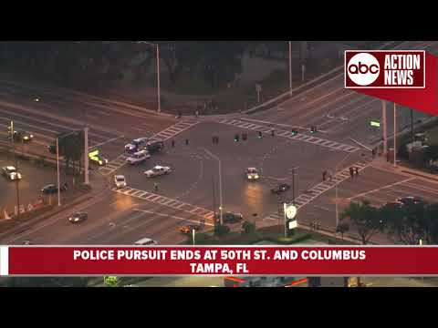 Police pursuit ends in crash in Tampa | Action Air 1