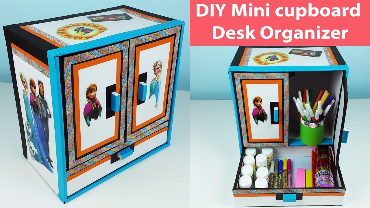Diy Mini Cupboard Desk Organizer Drawer Out Of Cardboard