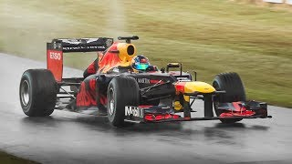 Red Bull RB8 F1 2012 Show by Patrick Friesacher: Screaming V8, Powerslides & Donuts!