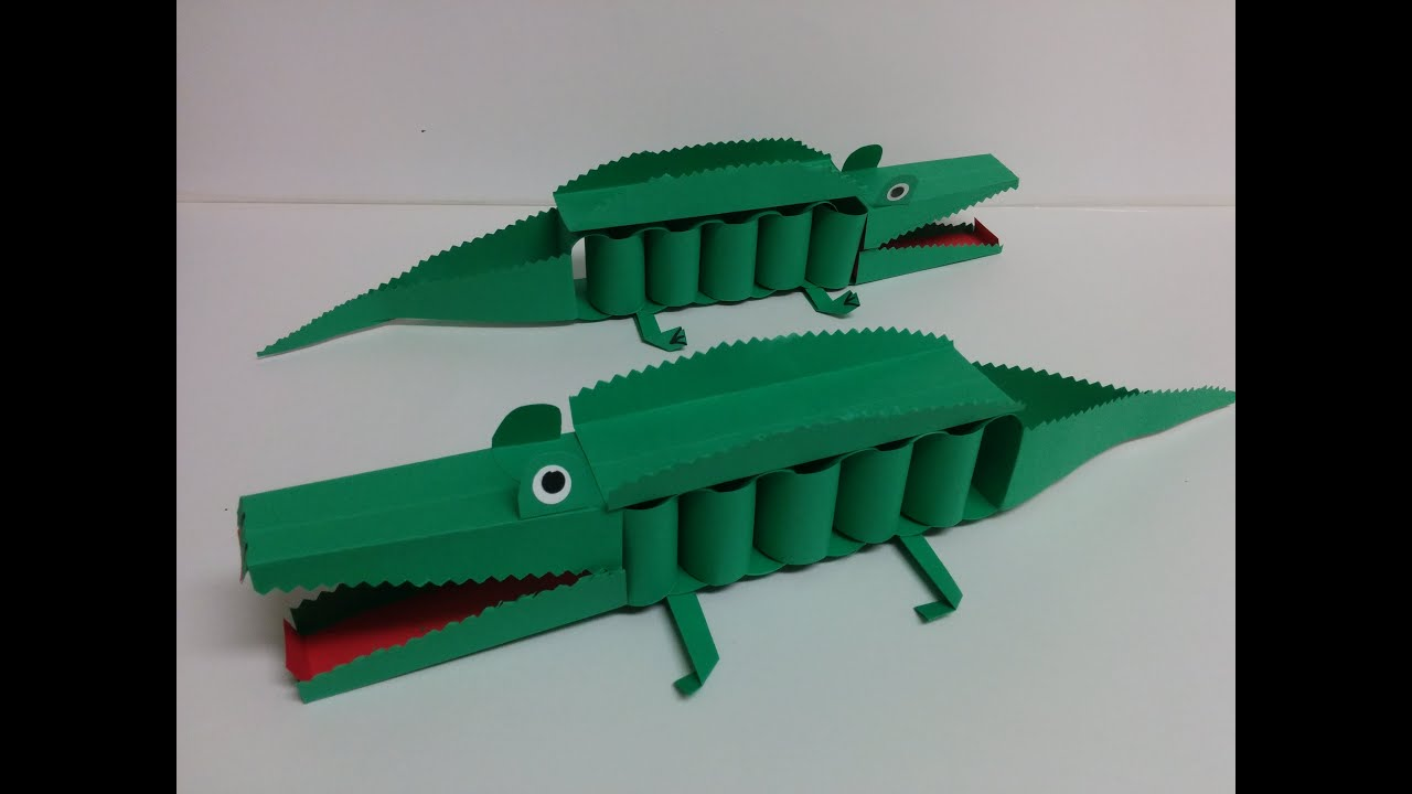 Fancy Toilet Kids Art And Craft How To Make 3d Paper Crocodile Youtube