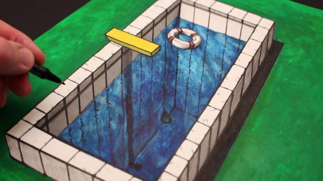 How to draw a 3d illusion anamorphic pool youtube How to draw swimming pool water