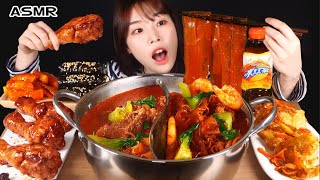 ASMR MUKBANG| 직접 만든 떡볶이 양념치킨 김밥 먹방 & 레시피 FRIED CHICKEN AND Tteokbokki EATING