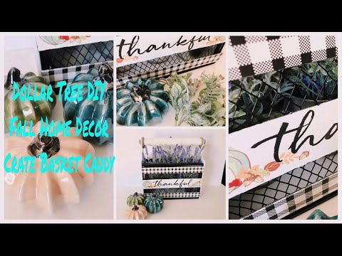 Dollar Tree DIY Farmhouse Fall Decor | DIY Crate Basket