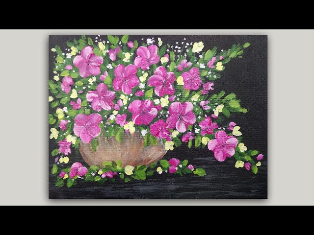 A vase of happy Pinks Flowers 6x6 Acrylic Painting