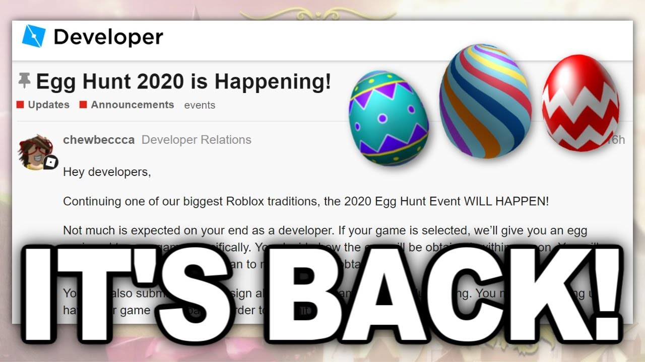 Roblox Confirms Egg Hunt 2020 Youtube