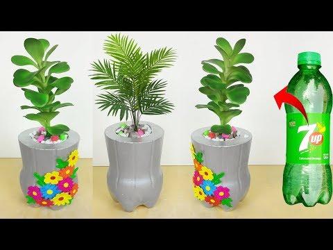 Plastic bottle Flower Pot // Cement Tree Pot making at home