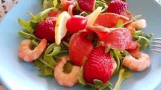 ,, БЫСТРЫЙ САЛАТ С КРЕВЕТКАМИ И КЛУБНИКОЙ''вкусный обед/ужин Garnelen Salat взаимная подписка