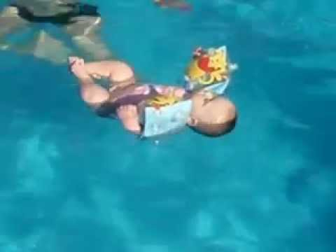 6 Months Old Baby Sleeping In Swimming Pool Youtube