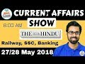 8:00 AM - CURRENT AFFAIRS SHOW 27/28 May | RRB ALP/Group D, SBI Clerk, IBPS, SSC, KVS, UP Police