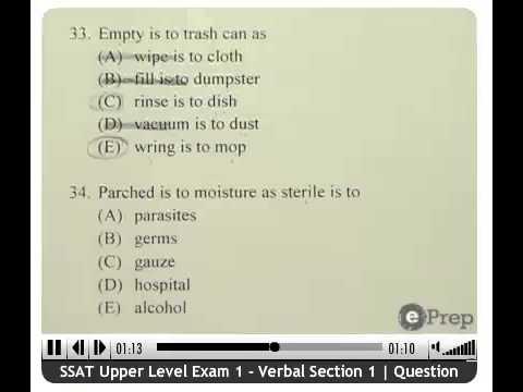 SSAT Analogies   Practice   ePrep Test Prep