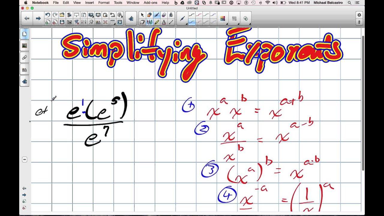 Simplifying Exponents Grade 11 Mixed Lesson 7 3 1 21 15