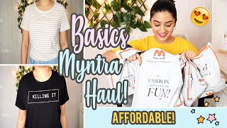 Trying on BASIC TEES from MYNTRA haul Unboxing First Impressions Under Rs 350 Meghna Verghese