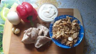 Белковый салат с маринованными шампиньонами