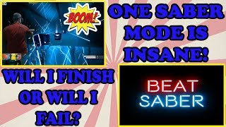ONE SABER ON EXPERT is INSANE! BEAT SABER VR game in the Mixed Reality Room! Virtual Reality TeamCC