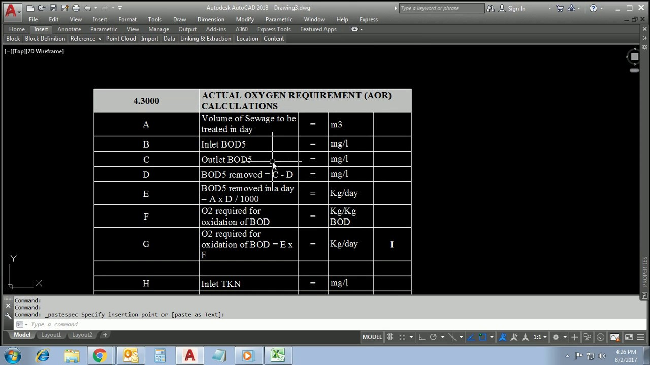 How to insert Excel table in AutoCAD