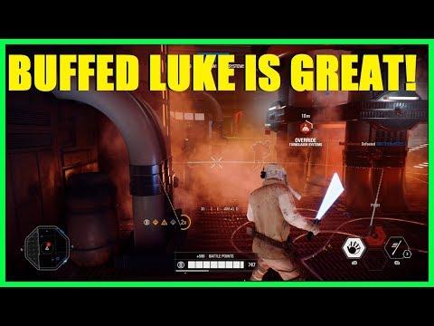Star Wars Battlefront 2 - Post patch Luke Skywalker is great! Force push is now a insta kill!