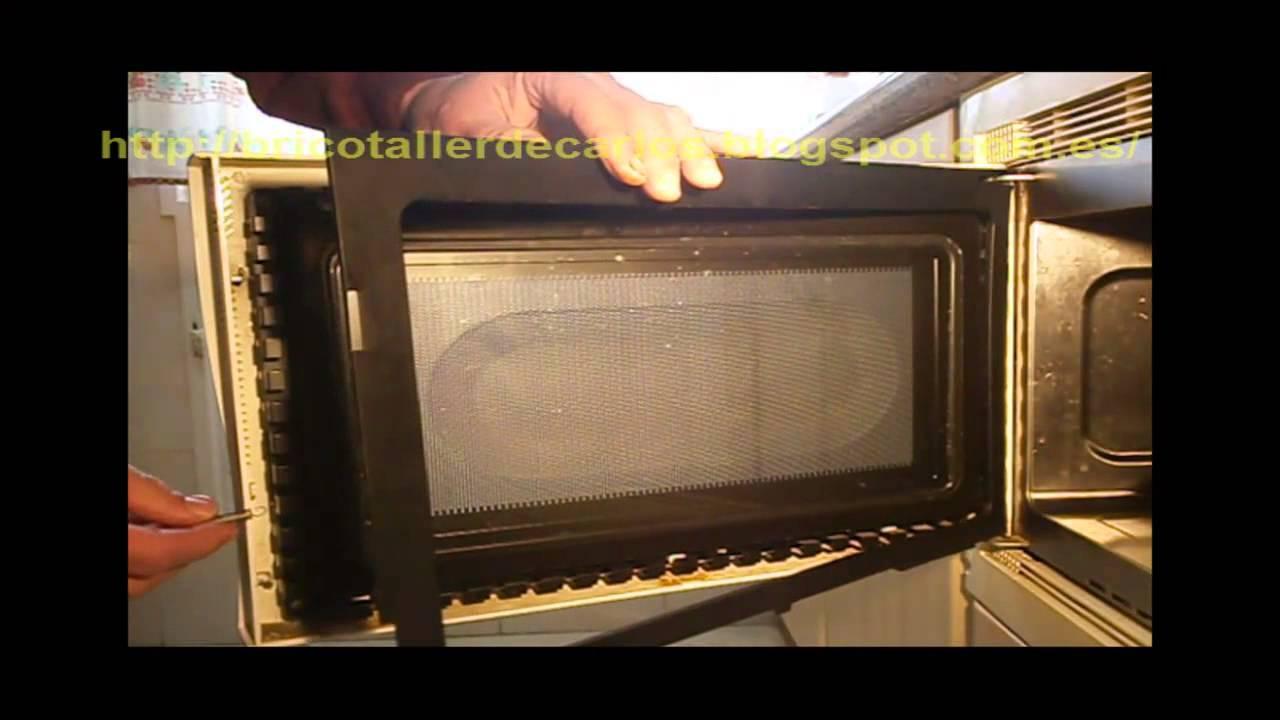 Puerta microondas estropeada youtube for Cristales para puertas de interior