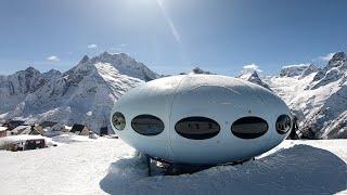 Домбай полный спуск через тарелку НЛО Домбай горнолыжный курорт Горнолыжные трассы Домбай Dombay