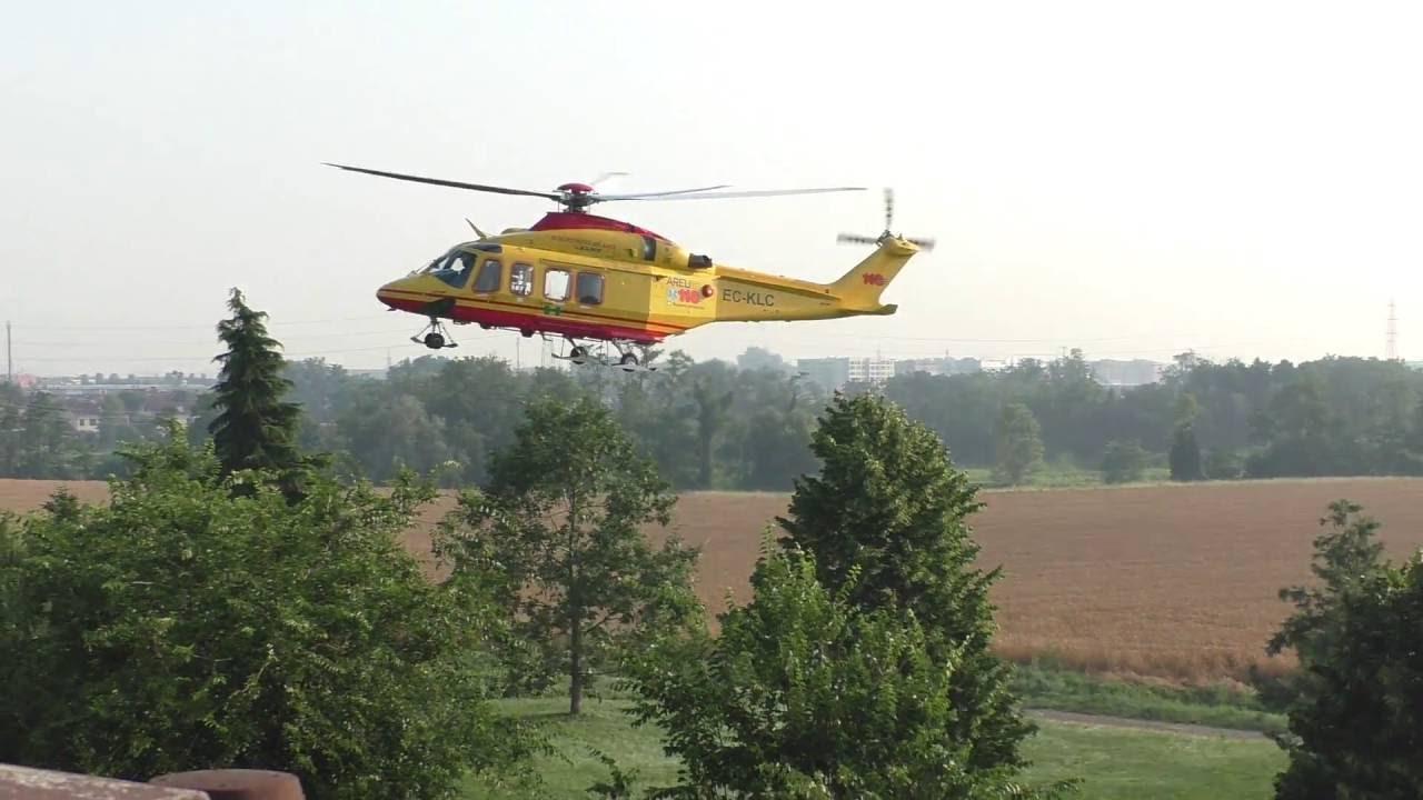 Elicottero Milano : Decollo elicottero elisoccorso 118 pieve emanuele milano 24