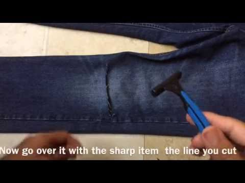 Mans fashion men DIY ripped pants