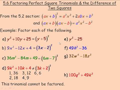 Factoring Perfect Square Trinomials and the Difference of Two ...