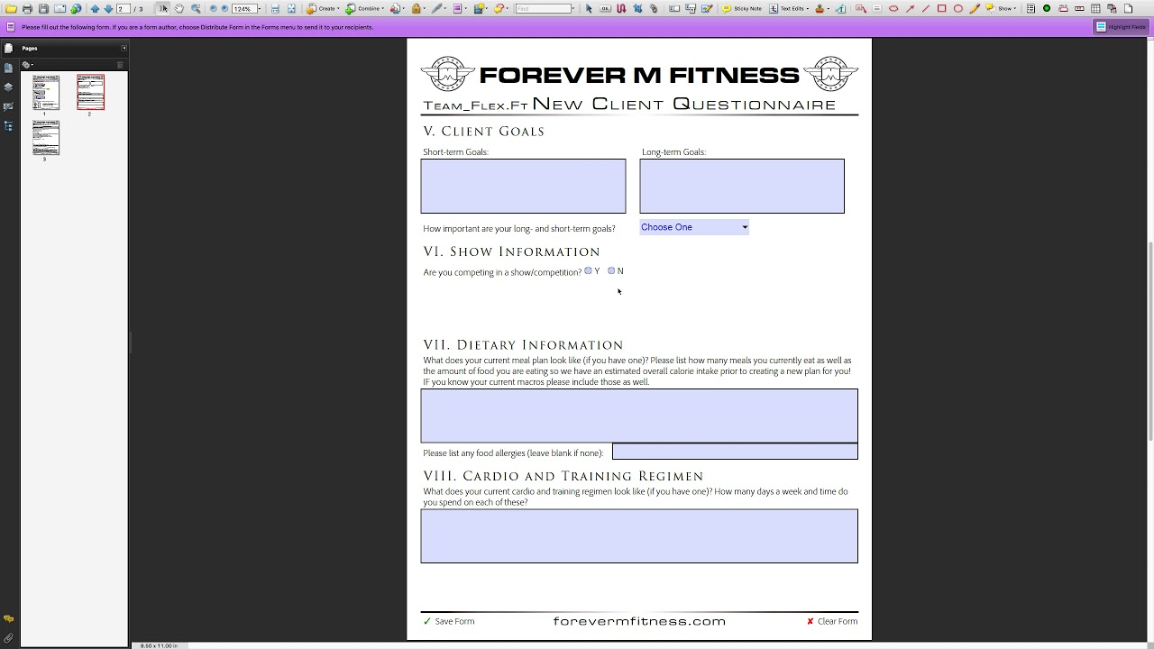 Custom PDF Completion - Fitness Questionnaire