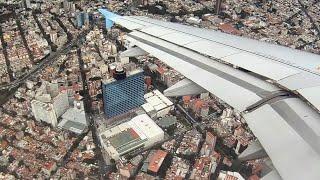 Impresionante vista Aerea Ciudad de México - Interjet Airbus A320 Aproximación y Aterrizaje