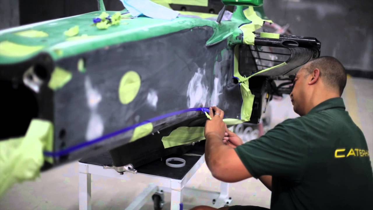 Chassis design of f1 car - Formula 1 Car Chassis Paint Job Video Caterham F1 Racing Car Painting
