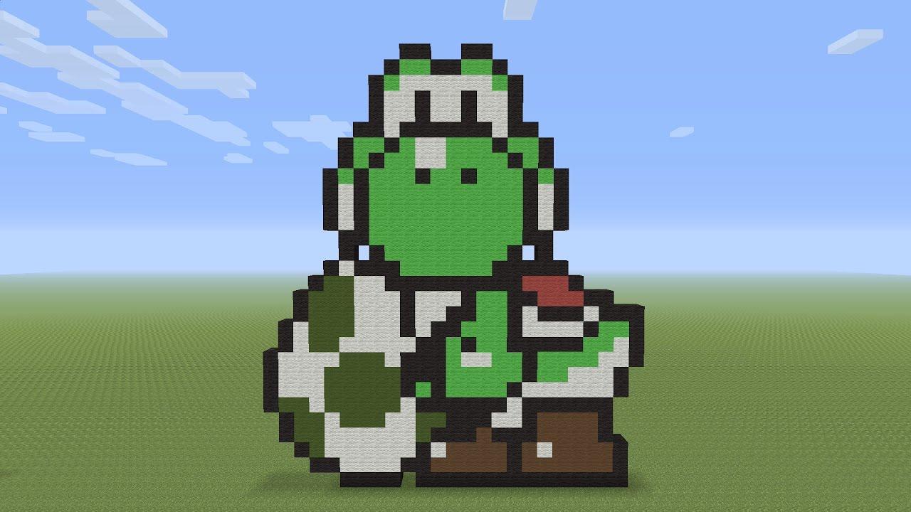 Minecraft Pixel Art Yoshi And Egg Youtube