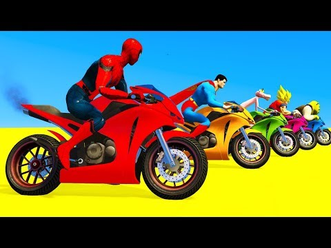 LEARN COLORS for Children Spiderman Cars Cartoon Cycles Racing w Street Vehicles for Kids