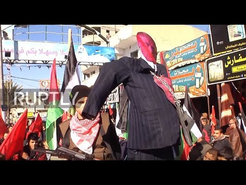 State of Palestine: Protesters burn Trump effigy in Gaza City