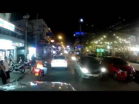 Kev in Thailand, Night Drive from 2nd Road through New Plaza and Soi Baukhao Pattaya ! Vlog 287