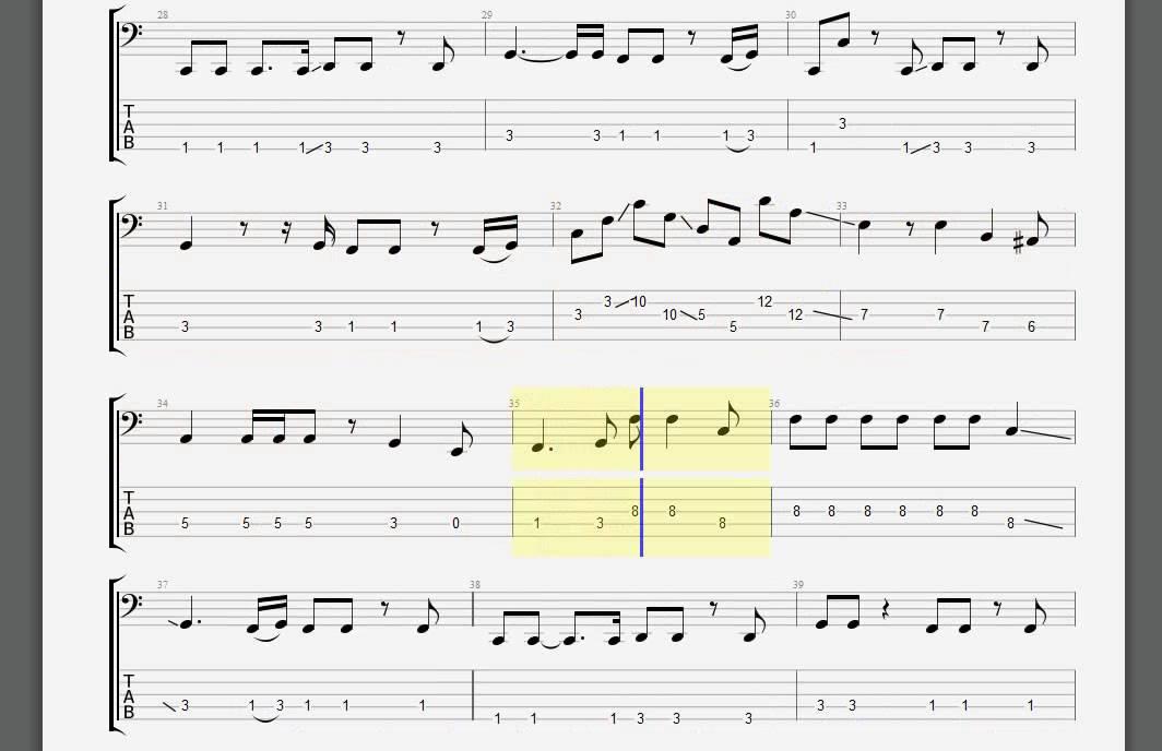 Aerosmith Pink Bass Guitar Tablature Youtube