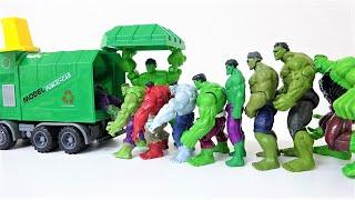 ハルク、スパイダーマン、アイアンマン、ハルクバスター! マーベルのスーパーヒーローが緑のごみ収集車に飛び込みます!