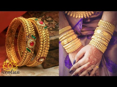 trendy-24k-gold-antique-broad-bangles-||-latest-indian-gold-bangle-collections