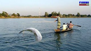 Big boal and chital fishing with back nets in the river।FISHING CHANNEL ONE.